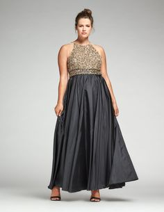 Ariella Sequined evening dress in Black / Gold