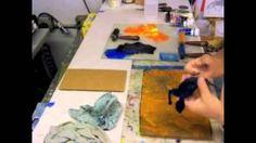 Gelatin Printing - pre-ink the Stencil by Linda Germain, via YouTube.
