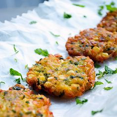 Potato & Corn Fritters Recipe Side Dishes with potatoes, corn kernels, ground turmeric, chili powder, salt, cooked rice, all-purpose flour, cilantro, mint, bread crumbs, ginger, oil