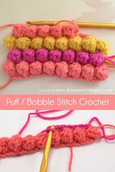 The puff or bobble stitch crochet is as simple as single and double crochet. This stitch that will provide amazing texture to your hooked bits! Crochet Simple, Unique Crochet, Modern Crochet, Free Crochet, Crochet Hats, Knitting Hats, Bubble Crochet Stitch, Bobble Stitch Crochet, Crochet Stitches Patterns