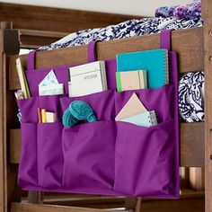 End of bed storage perfect for the dorm room.