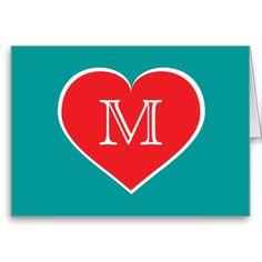 Monogram red heart blank inside greeting card #heartwarestore =>  http://www.zazzle.com/monogram_red_heart_blank_inside_greeting_card-137721799916252662?CMPN=addthis&lang=en&rf=238590879371532555&tc=pinHSSmonogramredwhitecard