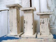 Handmade wood pillar candle holders large chunky shabby cottage white OOAK Anita Spero