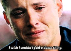 fake and gay — Dean Winchester: A Summary Dean Winchester Sad, Winchester Brothers, Jensen Ackles Supernatural, Supernatural Fandom, Crying Gif, Destiel, Sad Movies, Superwholock, Best Shows Ever