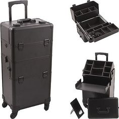 Professional 2 in 1 Rolling Makeup Train Hair Stylist Case 4 Wheel Organizer NIB