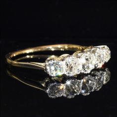 Edwardian Five Stone Diamond Ring in 18k and Platinum, c. 1910