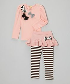 Take a look at this Pink Bow Top & Stripe Skirted Leggings - Toddler & Girls by Mia Belle Baby on #zulily today!