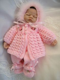 1 of Creative Dolls Designs Knitting Pattern Matinee Set For 10 Doll Prem Baby 1 of Creative Dolls Designs Knitting Pattern Matinee Set For 10 Knitting Dolls Clothes, Knitted Baby Clothes, Baby Doll Clothes, Knitted Dolls, Doll Clothes Patterns, Baby Knitting Patterns, Baby Patterns, Baby Set, Knit Baby Sweaters