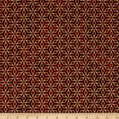 Kaufman Imperial Collection Metallic Grid Red from @fabricdotcom  Designed by Studio RK for Robert Kaufman, this cotton print is perfect for quilting, apparel and home decor accents. Colors include red and metallic gold.