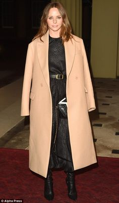 Stella McCartney (right) kept things simple in a camel coat and black dress. Stella Maccartney, Ladies Gents, Camel Coat, Buckingham Palace, Duchess Of Cambridge, Style Icons, Celebrity Style, Duster Coat, Product Launch