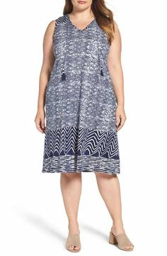 Lucky Brand Blue Batik Shift Dress (Plus Size)