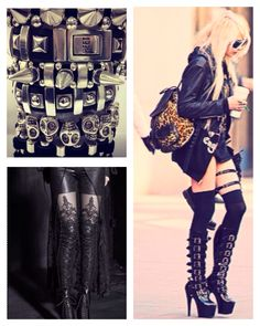 ROCK THEIR STYLE: TAYLOR MOMSEN -- Steal Taylor's look by pairing dramatic knee-high #stiletto or #platform boots w thigh highs, #leathershorts & #motorcyclejacket or oversized sweater.  Pair with #spike #leather and #metal statement #accessories like these from #HEET , which have been seen on artists like Butcher Babies, #Halestorm, #Ministry and #WeAreTheRiot - shopHEET.com #taylormomsen  #style #fashion #edgy #edgyfashion #rock #rockstar #rocknroll  #boots #thighhigh #sexy #stiletto…