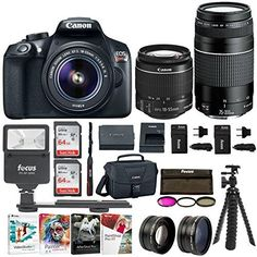 Canon EOS Rebel SLR Camera 18 Megapixel HD Video Bundle with Lenses 3 Batteries - 2 Travel Chargers and Photo Software - Professional Vlogging Sports Action Camera * Learn more by visiting the image link. (This is an affiliate link) Focus Camera, Photo Software, Canon Eos Rebel T6, Canon Lens, Zoom Lens, Hd Video, Digital Camera, Canon Digital, Lenses