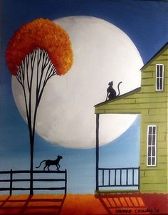 ORIGINAL painting folk art landscape black cats whimsical full moon singing tree #Enteryourown
