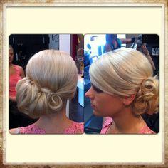 Wedding hair I did on a beautiful bride! Side chignon