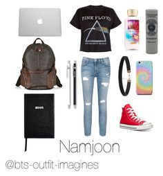 """School with Namjoon"" by bts-outfit-imagines on Polyvore featuring Current/Elliott, Converse, Floyd, Piquadro, Unison, L'Occitane, Sloane Stationery, women's clothing, women and female"