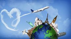 Illustration about Concept of travel around the world with representation of the globe and monuments around. With heart-shaped clouds. Illustration of airplane, love, suitcase - 55014921 Travel Around The World, Around The Worlds, Work Abroad, Ulsan, Travel Illustration, Blog Voyage, City Photography, Throughout The World, Travel Posters