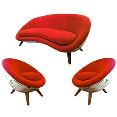 "1stdibs.com | Jean Royere Documented Rarest ""Oeuf"" Set Including 2 Chairs And One Rarest Couch"
