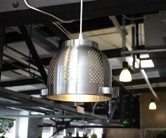 Ikea has plenty of things that can be turned into attractive lights. I loved the industrial look of the stainless steel colander, and turning it into a lamp was a breeze with IKEA's inexpensive Hemma light socket set.At $15, this easy project can be remixed and remade in countless ways.