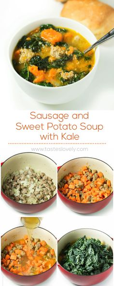 Substitute Sausage with ground turkey) and Sweet Potato Soup with Kale (paleo, gluten free, dairy free, paleo crockpot turkey Kale Sweet Potato Soup, Sausage And Kale Soup, Sausage And Sweet Potato Recipe, Sweet Potato Dinner, Potato Diet, Clean Eating, Paleo Soup, Paleo Dinner, Soup And Salad