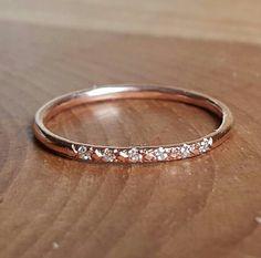 Bague de pavé de diamants bague en or Rose 14K Rose Gold