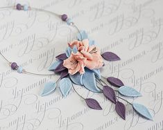 Powder Pink flowers necklace. Pale blue lavender lilac leaves necklace. Polymer…