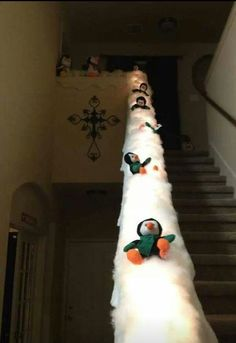 How cute is this idea for a staircase! DIY Christmas Decorations The kids are going to love these fun Christmas decorations!