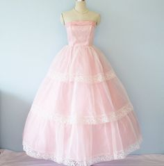 1950's Dress //  Romantic Pink Formal Dress //  Plunge Bust Shelf Tiered Layers // Fairy Tale Princess