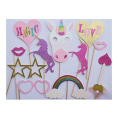 Unicorn Party Photo Booth Props ; Unicorn Birthday Decoration ; Valentines Day Photo Props ; Unicorn Party Decor ; Girl Birthday Party Decor by Lets Get Decorative