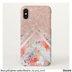 Rose gold glitter ombre floral watercolor marble iPhone x case Pretty Iphone Cases, Pink Phone Cases, Glitter Phone Cases, Iphone Case Covers, Cell Phone Cases, Iphone 8 Plus, Iphone 7, Floral Iphone Case, Rose Gold Glitter
