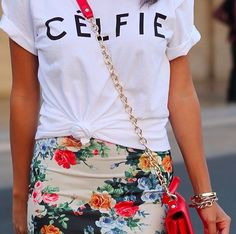 Floral and slogan tee