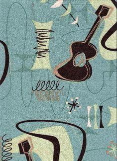 Jetson - Barkcloth Hawaii - Timeless Hawaiian Fabric For Your Home & Body Tropical Hawaiian Fabric. Atomic, Mid-Century modern, abstract boomerang, fifties, ukulele pattern on a nubby bark cloth upholstery fabric. Motif Vintage, Vintage Textiles, Style Vintage, Vintage Prints, Retro Style, Vintage Decor, Retro Vintage, Motifs Textiles, Textile Patterns