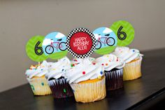 Bike Party Cupcake Toppers Printable Bicycle Birthday Party Theme