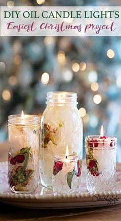 DIY Oil Candle Lights - Easiest Ever! DIY Oil Candle Lights that you can make for Christmas using items that you probably already have on hand. Turn your mason jars into beautiful Christmas lanterns for indoors or outside on the porch! Oil Candles, Candle Jars, Mason Jars, Sand Candles, Candle Craft, Candle Sticks, Floating Candles, Candle Holders, Hanging Christmas Lights