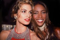 Cindy Crawford and Naomi Campbell attend the Third Annual Revlon's Unforgettable Women Contest on August 19, 1991