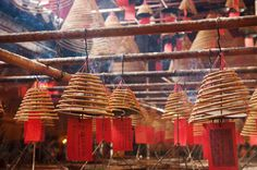 Incense coils with wishes/prayer tags at Man Mo Temple, Sheung Wan, HK