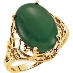Genuine Nephrite Jade Cabochon Ring Item #61952