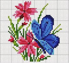 Wildflower and butterfly cross stitch. Butterfly Cross Stitch, Mini Cross Stitch, Cross Stitch Cards, Cross Stitch Animals, Cross Stitch Flowers, Cross Stitching, Cross Stitch Embroidery, Cross Stitch Designs, Cross Stitch Patterns