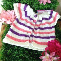 Gilet rayé bébé fille, cadeau de naissance fait-main en mérinos et cachemire : Mode Bébé par k-thys-creations