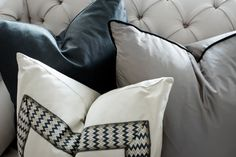 Detail shot of the toss cushions in the Living Room designed by Elizabeth Metcalfe Interiors & Design Inc. www.emdesign.ca