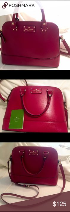 Kate Spade Cedar Street Maise Shoulder Bag Beautiful gently used cranberry colored Kate Spade shoulder bag! Can also be used as a handbag because the shoulder strap is detachable. Purchased online for $368 with last fall's collection. Only used 4-5 times, no damage. One zippered pocket inside as well as two additional pockets. kate spade Bags Shoulder Bags