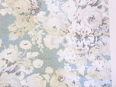 "Thibaut Fabric Sample Wild Floral Aqua 26"" x 26"" Cotton Silk Linen + FREE SAMPLES!!! on Etsy, $8.99"
