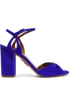 Bright-blue suede Buckle-fastening ankle strap Made in ItalySmall to size. See Size & Fit notes.