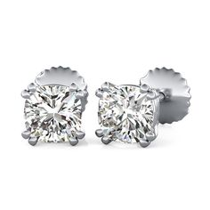 Double Prong Stud Earrings with Cushion Cut Diamonds by 90210Jewelry.com ❤