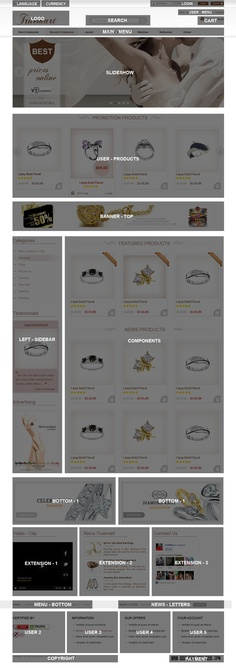 http://magento-jewelry-theme.cmsmart.net/magento/magento-theme/magento-jewelry-theme      Jewelry Theme gives to you a clear and modern look. It allows you to use the theme for every kind of online shop: jewelry, beauty, cosmetics, apparel, fashion store, mall shop and any Magento shop if needed an easy customization theme.