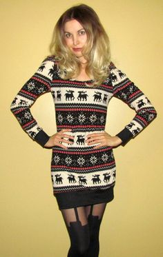 Love this sweater! (but I'd wear leggings under with tall boots)