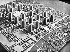 "Le Corbusier. ""Contemporary City for Three Million Inhabitants."" 1922. #architecture #lecorbusier"