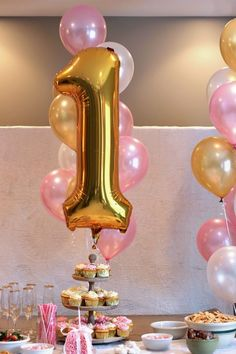 Jumbo Gold First Birthday Balloon via Pretty My Party