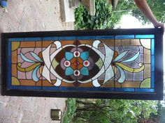 Antique Victorian Stained Glass Window 1890 Parlor Transom Ornate with Jewels | eBay