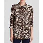 Equipment Leopard Print Slim Signature Jewel Collar Silk Blouse - Bloomingdale's Exclusive
